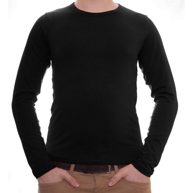 тенденции мужской моды осень зима: футболка с длинными рукавами черная