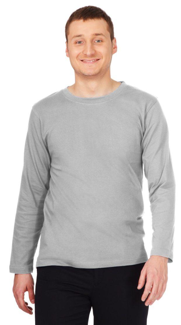 тенденции мужской моды осень-зима: футболка с длинными рукавами серая
