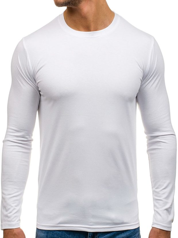 тенденции мужской моды осень-зима: футболка с длинными рукавами белая