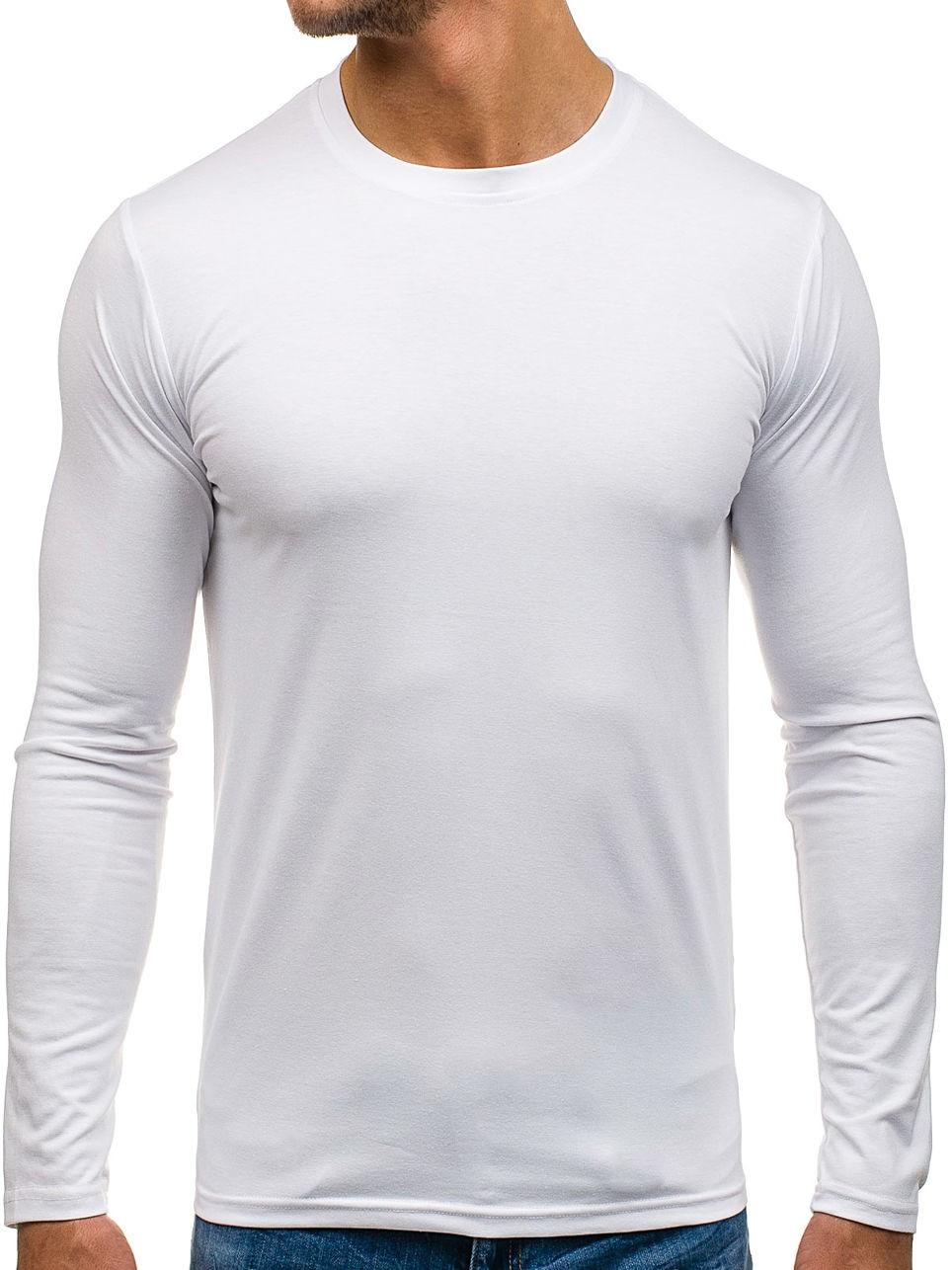 тенденции мужской моды осень зима: футболка с длинными рукавами белая