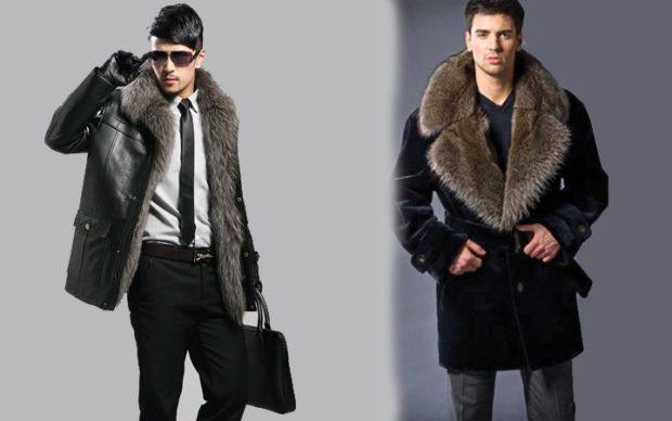 мужская мода 2018 осень зима: кожаная куртка с мехом пальто черное с мехом