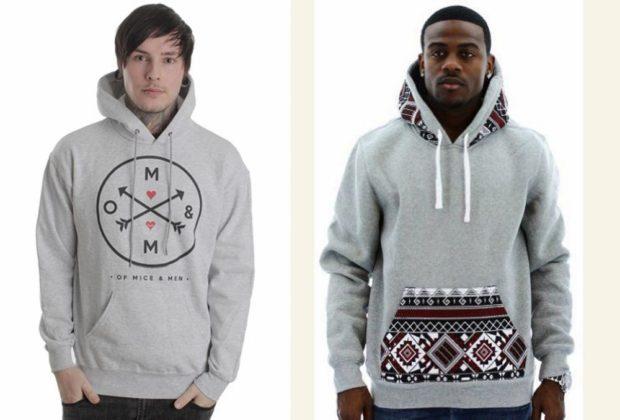 тенденции мужской моды осень зима: толстовки серые с капюшонами серые с принтом