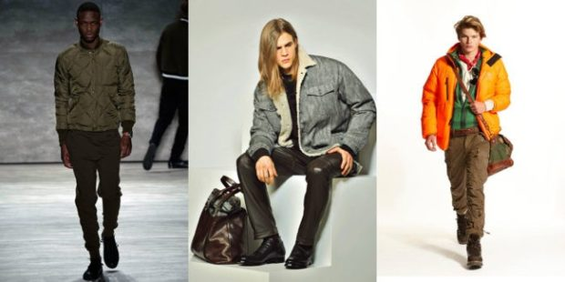 мужская мода 2019-2020 осень-зима: куртка короткая зеленая джинсовая синяя оранжевая дутая