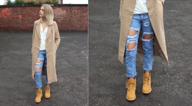 как носят джинсы с тимберлендами