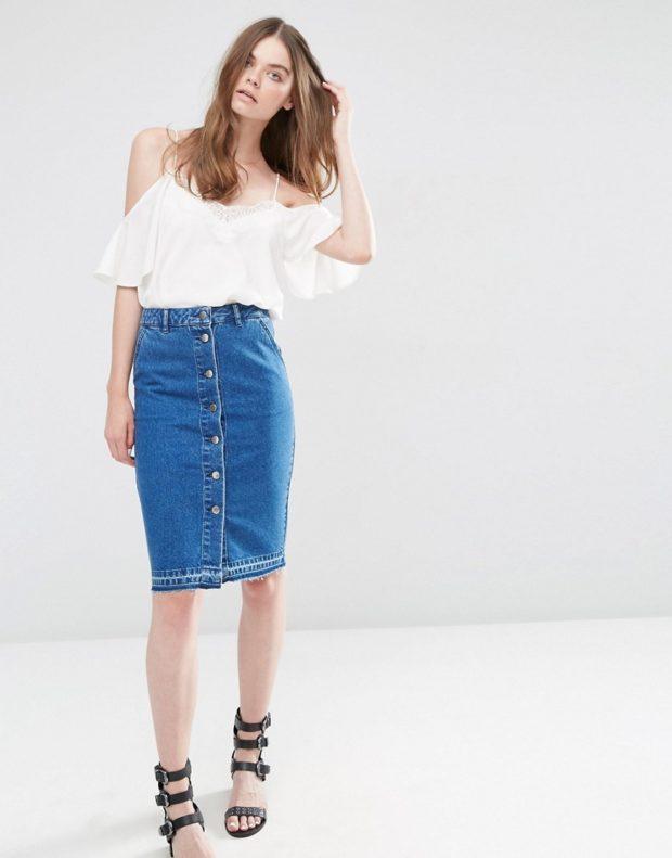 юбки: джинсовая на пуговках по колено