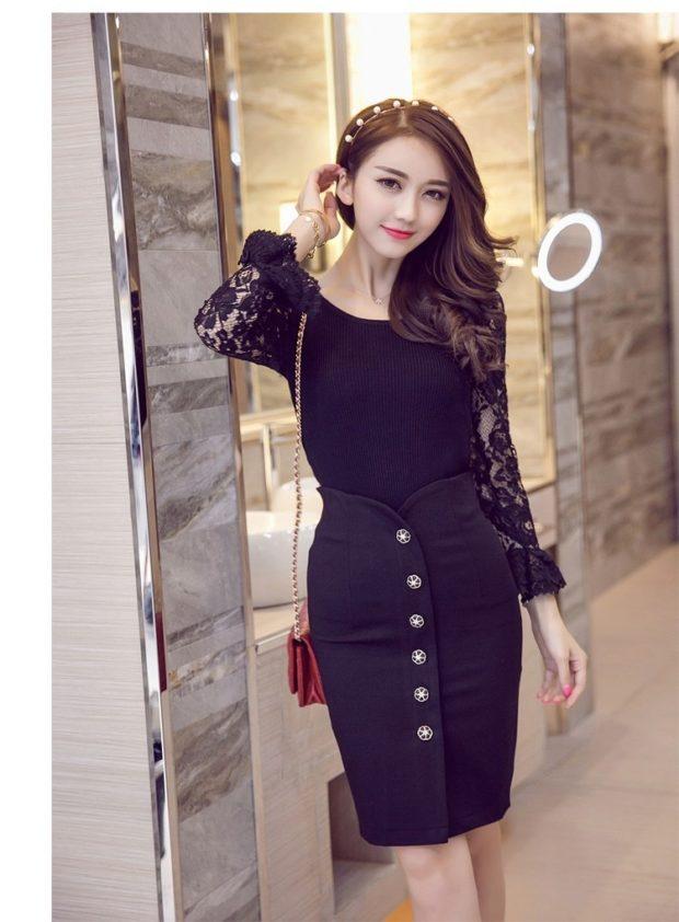 юбки: черная высокая талия на пуговицах