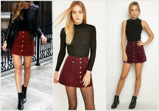 модные юбки: красная короткая на пуговицах