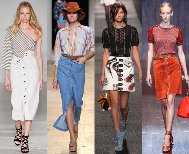модные юбки: с пуговками по колено белая синяя короткие в принт оранжевая