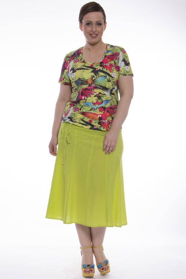 модные юбки: для полных салатовая простая