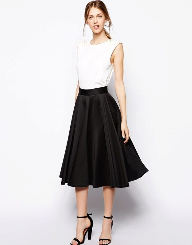 красивые юбки: солнце черная под майку белую