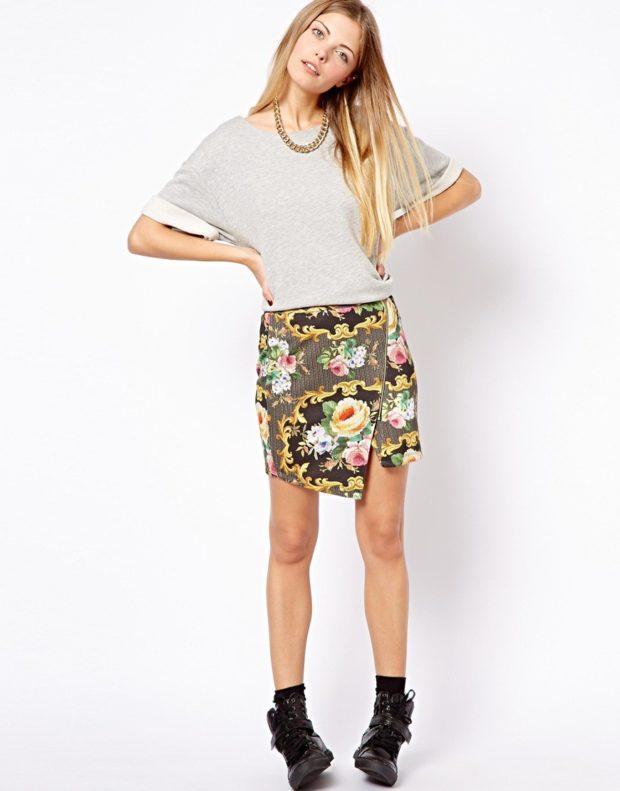 красивые юбки: в цветы коротка асимметрия