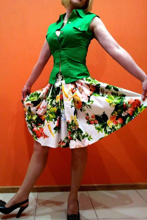 красивые юбки: в цветы в складку