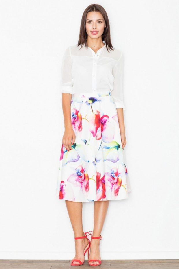 красивые юбки: в цветы по колено а-силуэт
