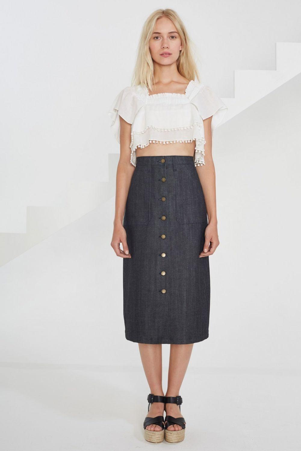 юбка прямая джинсовая с пуговками