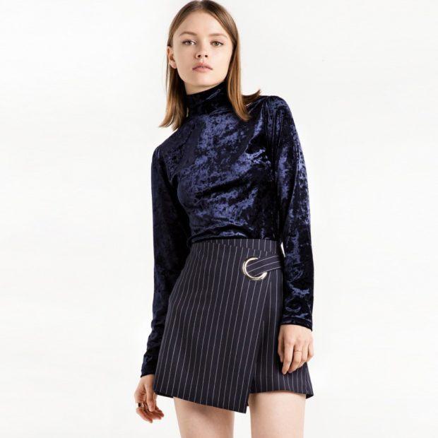 юбка асимметрия черная в полоску с поясом