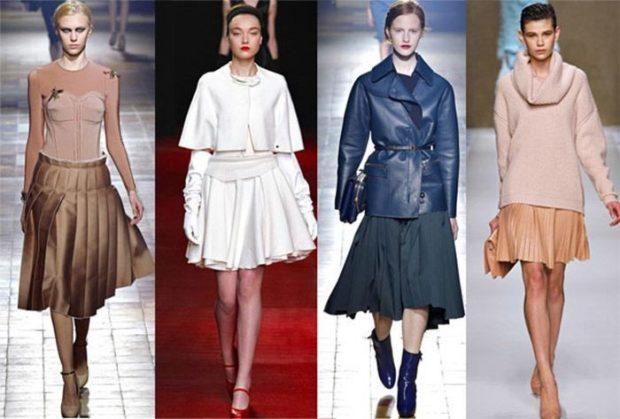 юбка коричневая в складку белая короткая с воланами черная а-силуэт коричневая плисе