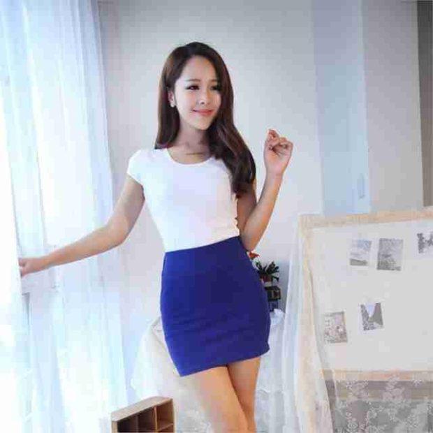 юбка синяя короткая