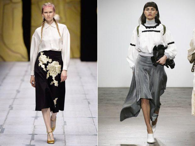 юбка черная бархатная с принтом серая асимметрия