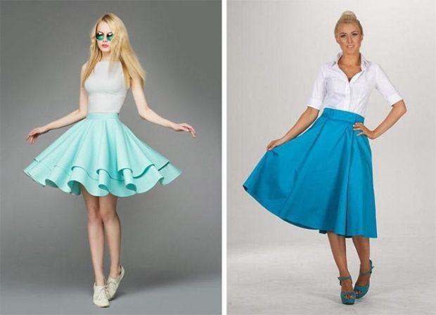 юбка голубая с воланами синяя а-силуэт