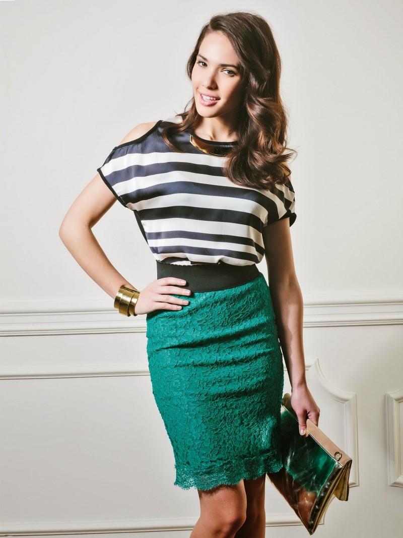 юбка карандаш гипюровая зеленая выше колено