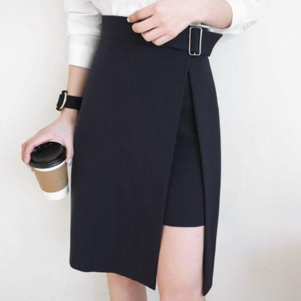 черная юбка асимметрия по колено с поясом