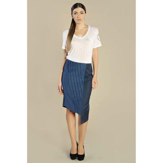 юбка синяя асимметрия