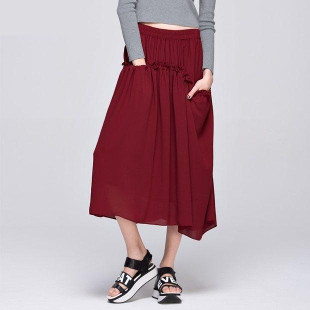юбка красная асимметрия с карманами