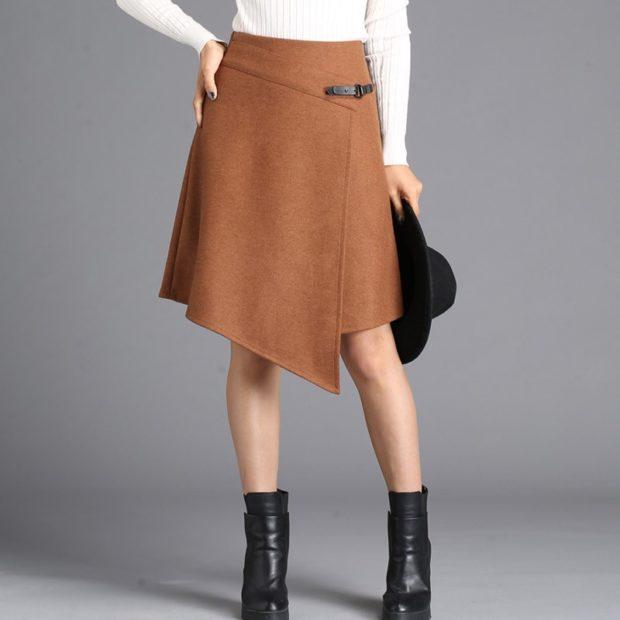 коричневая юбка асимметрия