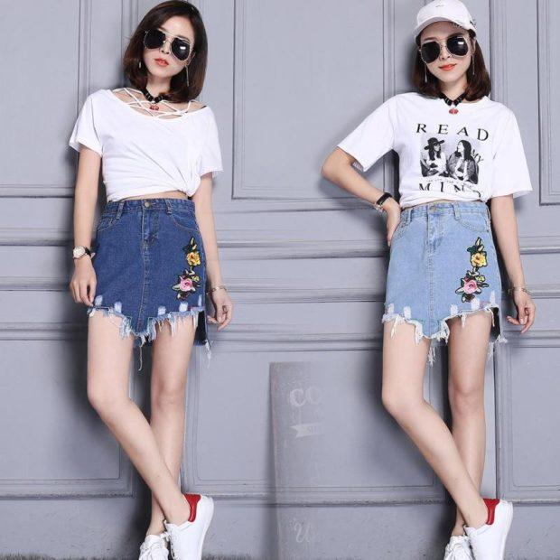 юбка асимметрия джинсовая с аппликацией