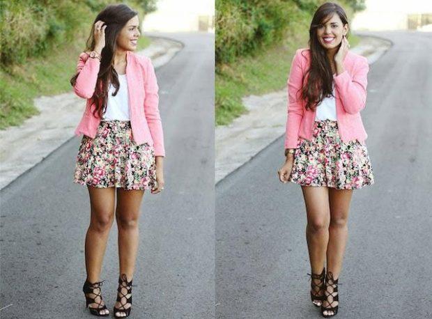 юбка в цветы короткая