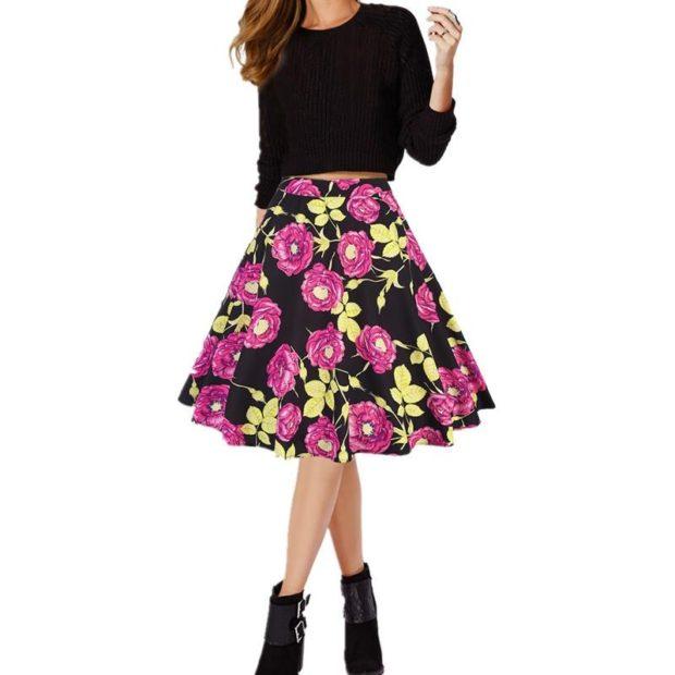 юбка в складки в цветы выше колена