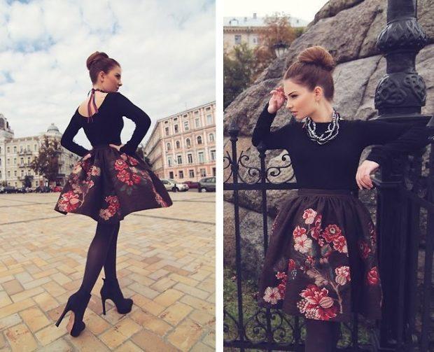 юбка пышная короткая черная в цветы