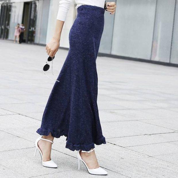 юбка трикотажная синяя в пол