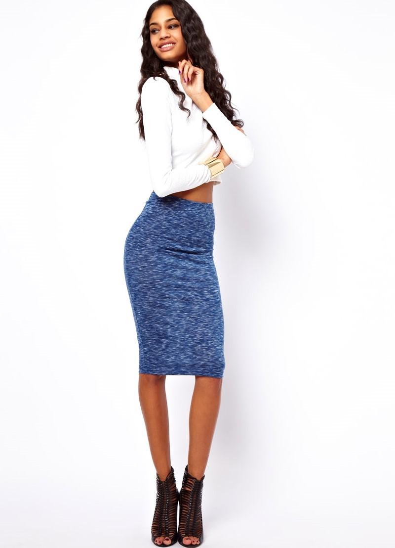 юбка синяя по колено трикотажная