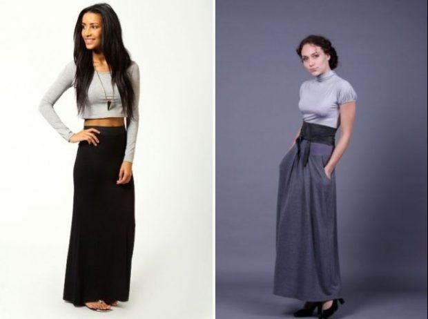 юбка трикотажная длинная черная серая с карманами