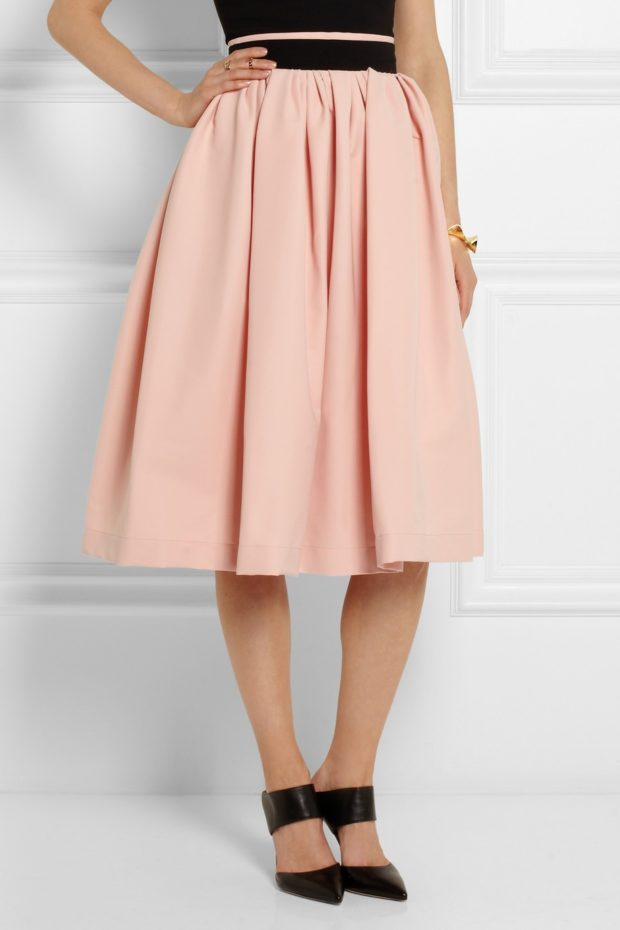 юбка солнце персиковая по колено