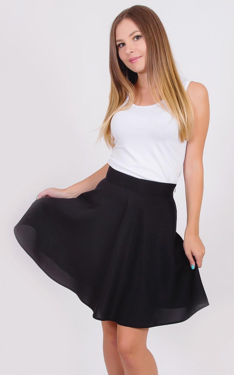 юбка солнце черная с шифоном