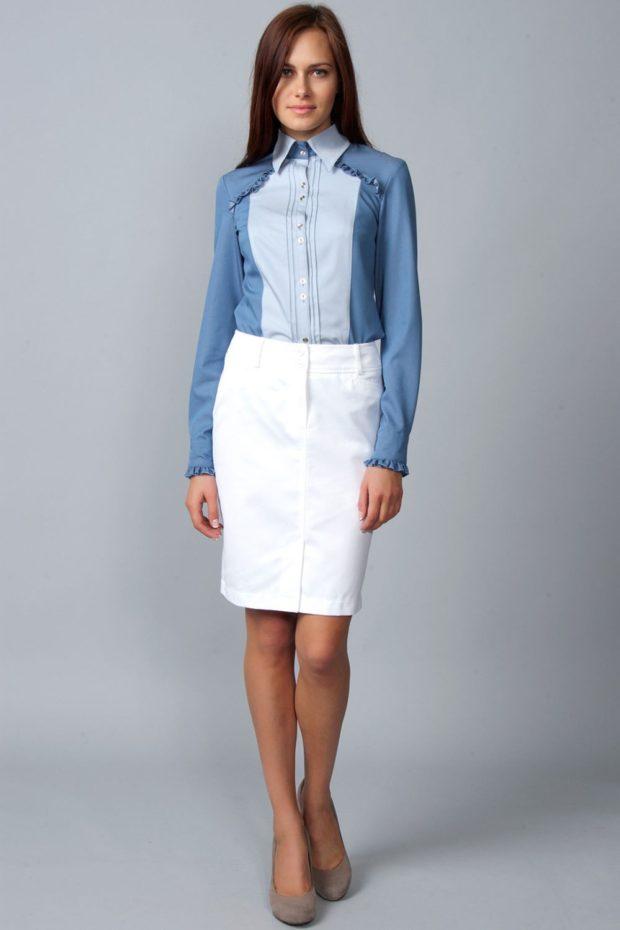 белая юбка карандаш выше колено