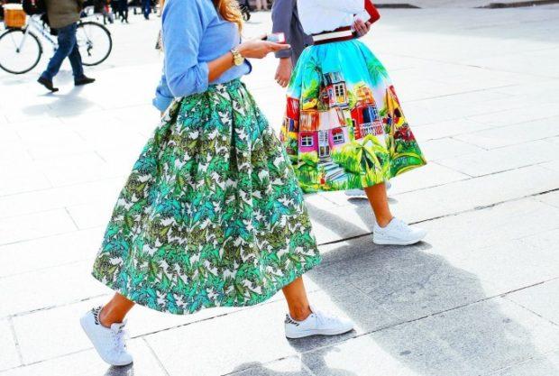 юбки весна лето 2019 пышные в принт по колено
