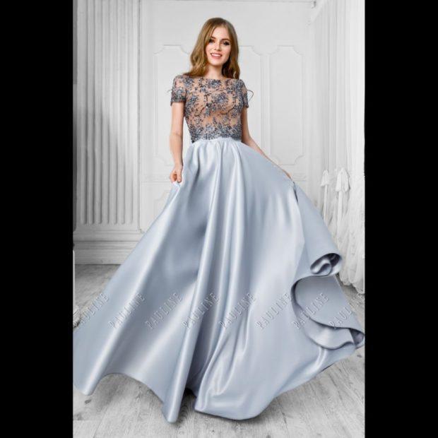 Вечерние платья в пол верх гипюр юбка атласная пышная