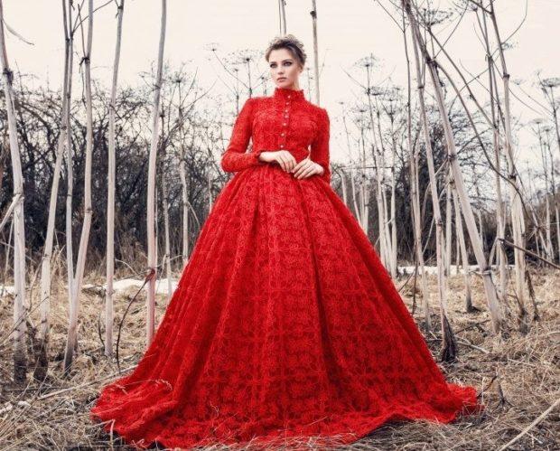 длинные вечерние платья в пол: ажурное красное рукав юбка пышная