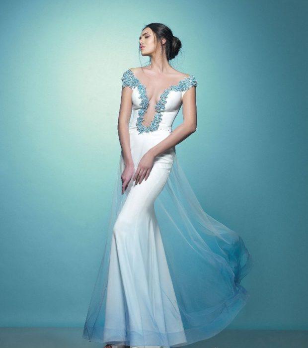 длинные вечерние платья в пол: белое по фигуре с декольте