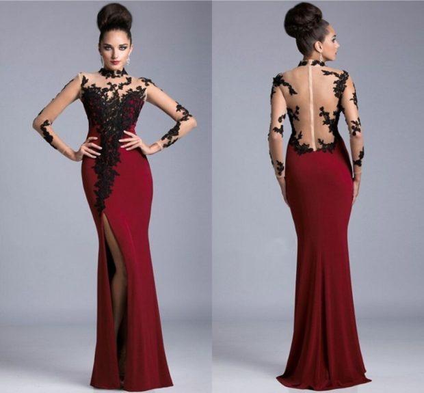 Вечерние платья в пол красно с черным спина открытая с гипюровыми вставками