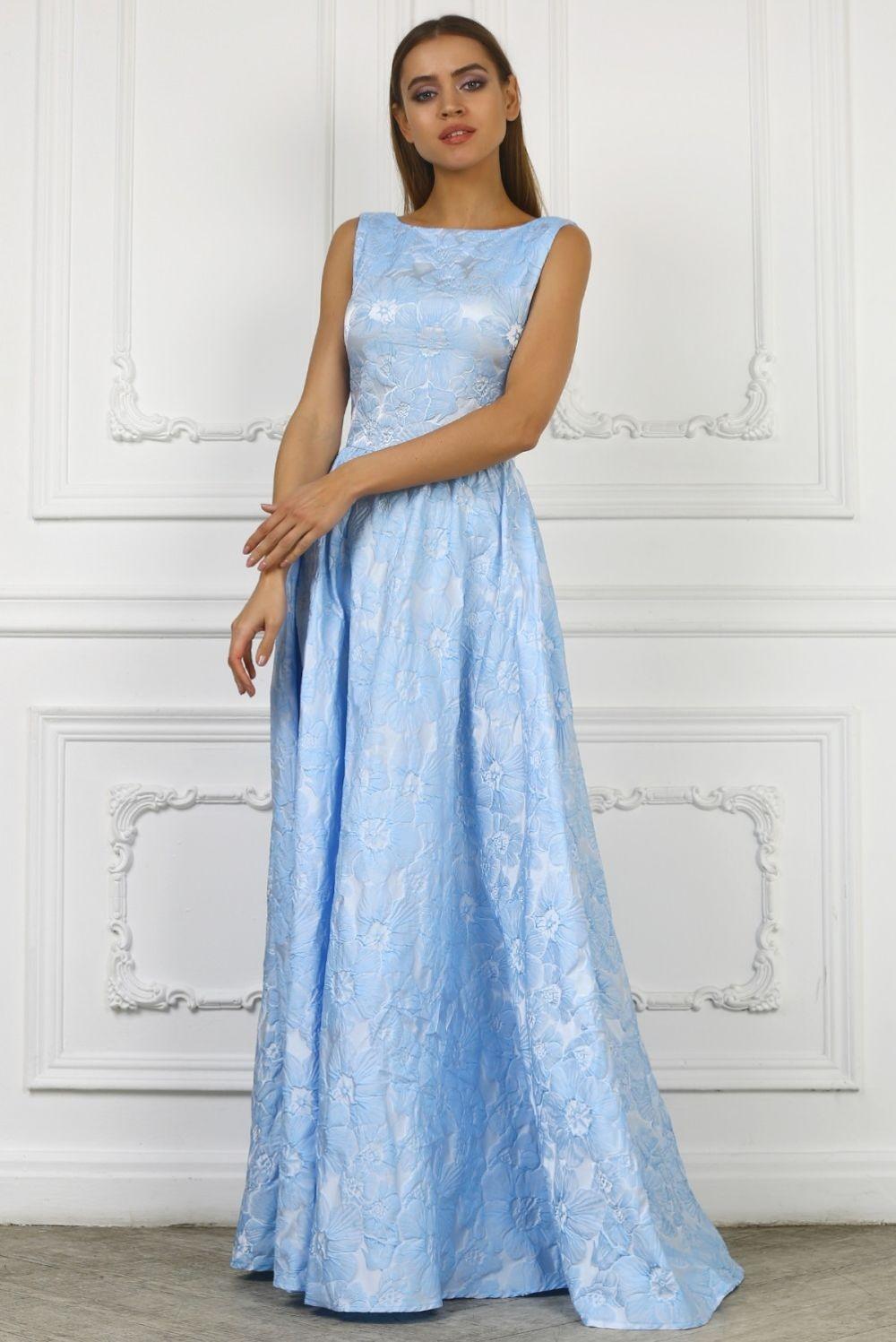 Вечерние платья в пол голубое без рукава а-силует