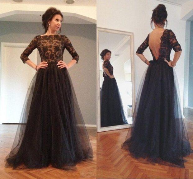 Вечерние платья в пол черное юбка пышная открытая спина