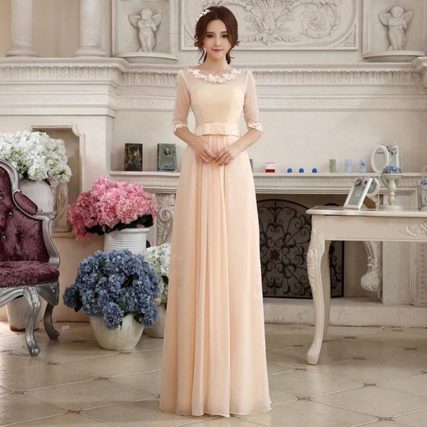 длинные вечерние платья в пол: пудровое рукав 3/4 легкая ткань