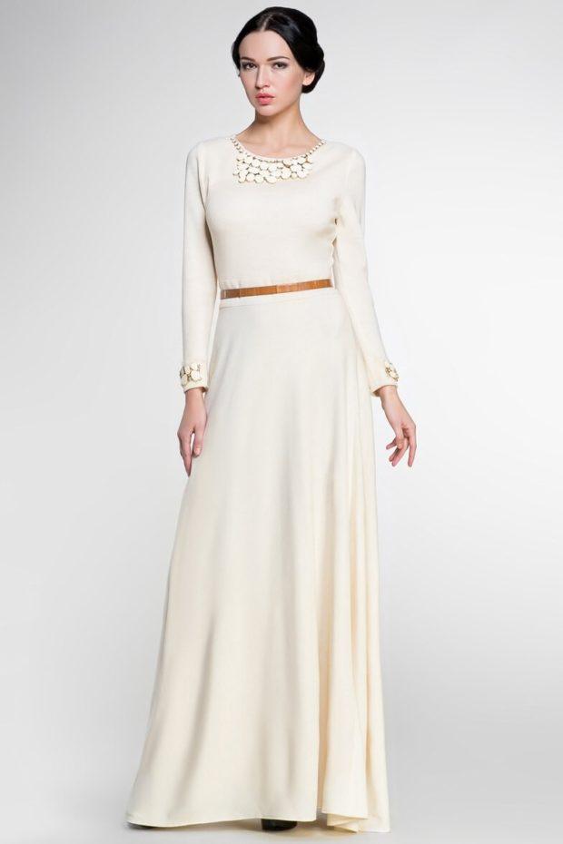длинные вечерние платья в пол: белое рукав