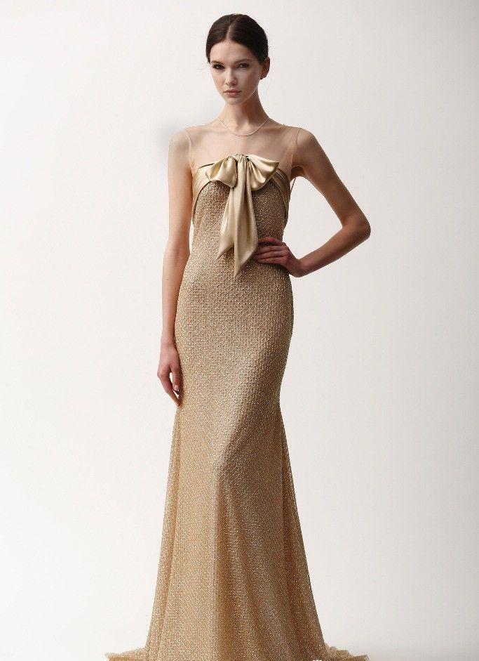 платье в пол нежно золотое с бантом