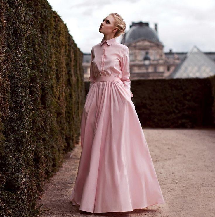 розовое платье рубашка в пол романтический образ