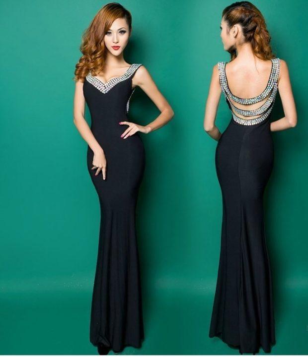 длинные вечерние платья в пол: черное по фигуре с серебром спина открытая